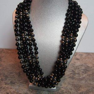 Pearl Black Onyx Necklace 6 Strand Pearls Costume